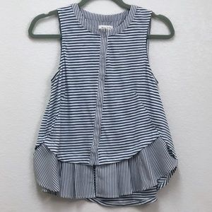 Meadow Rue Striped Button Peplum Fenella Tank
